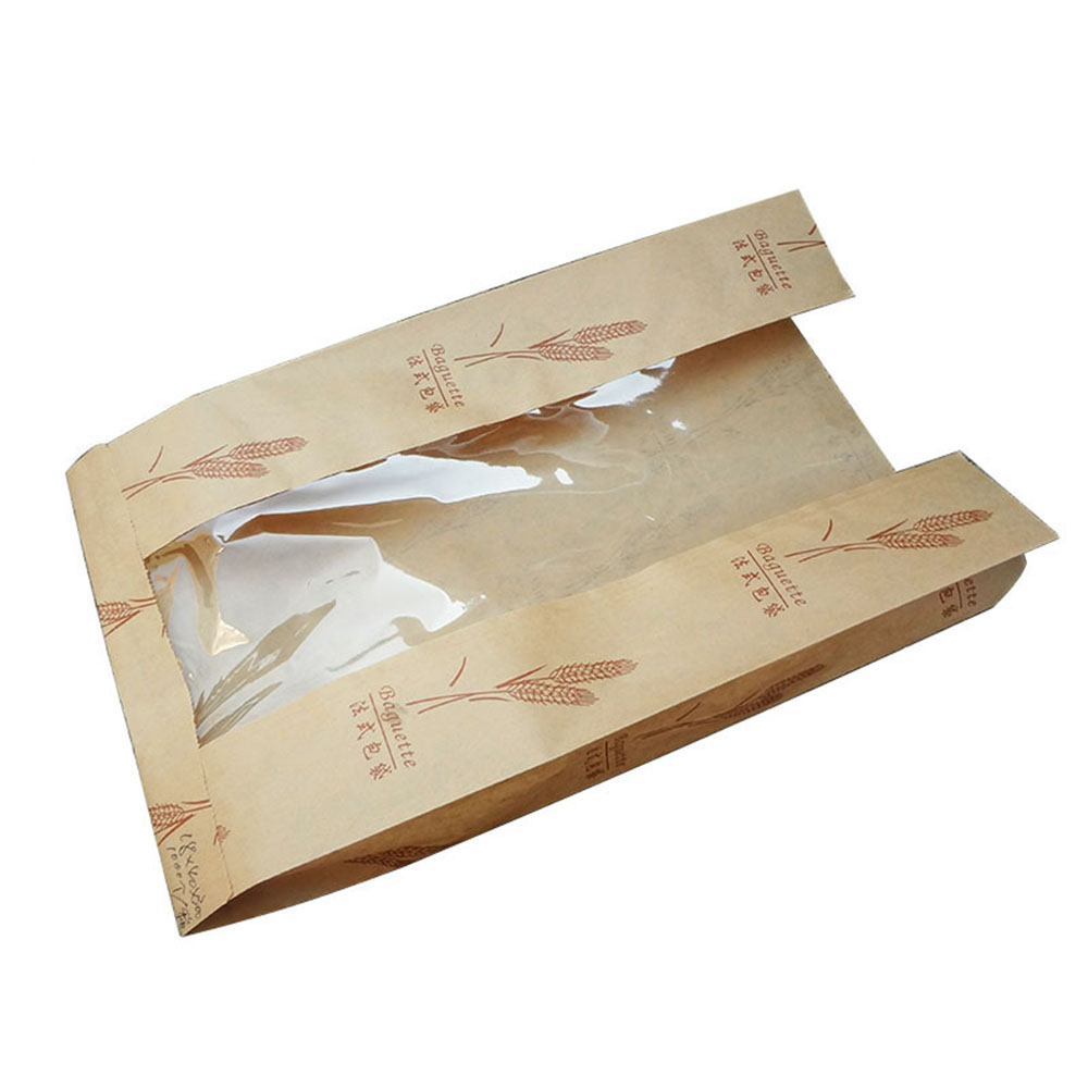 High quality kraft paper bag Bread Paper Bag With Window packing bags for bread