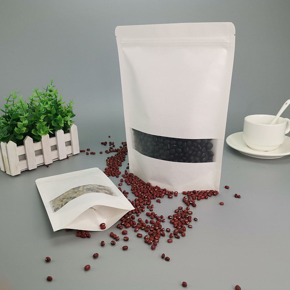Eco-friendly Recyclable Kraft food Paper Stand up nut Packaging Bag Zipper Lock Pouch with Window