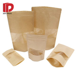 Three Side Seal Brown Kraft Paper Heat Sealable Flat Food Bags With Clear Window